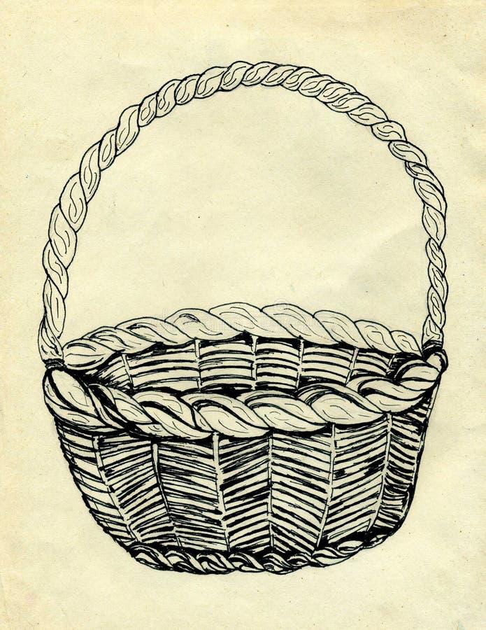 Bosquejo de la cesta de mimbre stock de ilustración