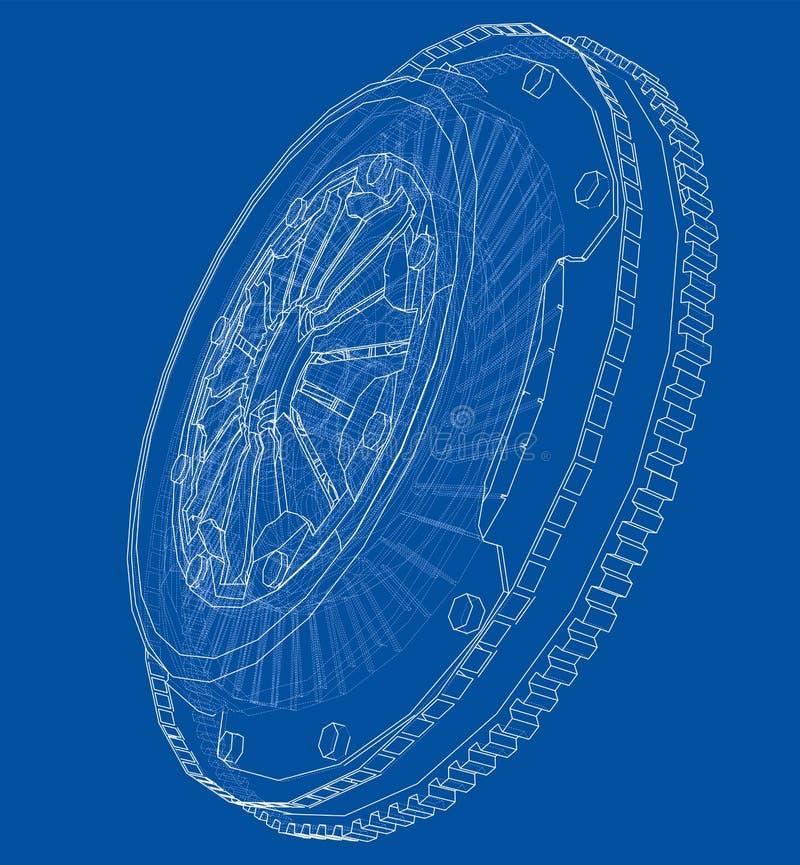 Bosquejo de la cesta del embrague para el coche stock de ilustración