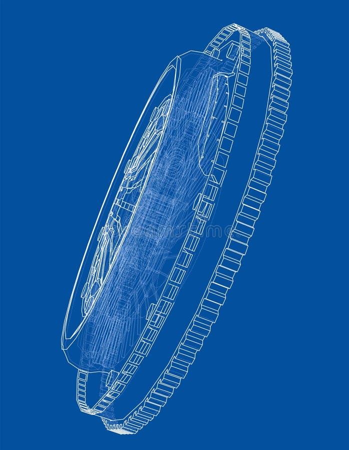 Bosquejo de la cesta del embrague para el coche ilustración del vector