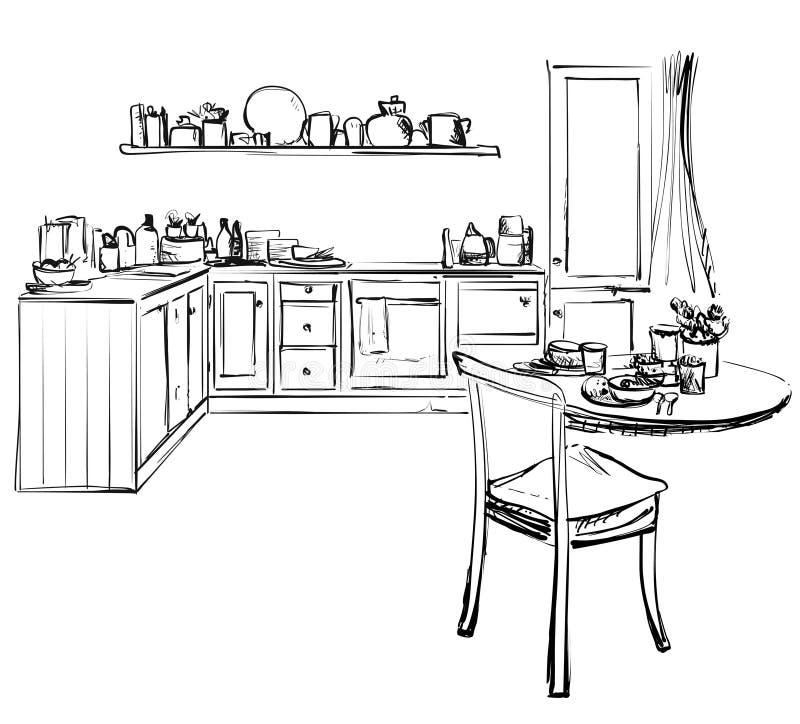 Bosquejo de la cocina de la esquina moderna L?neas negras del l?piz en el fondo blanco vector de cena ilustración del vector