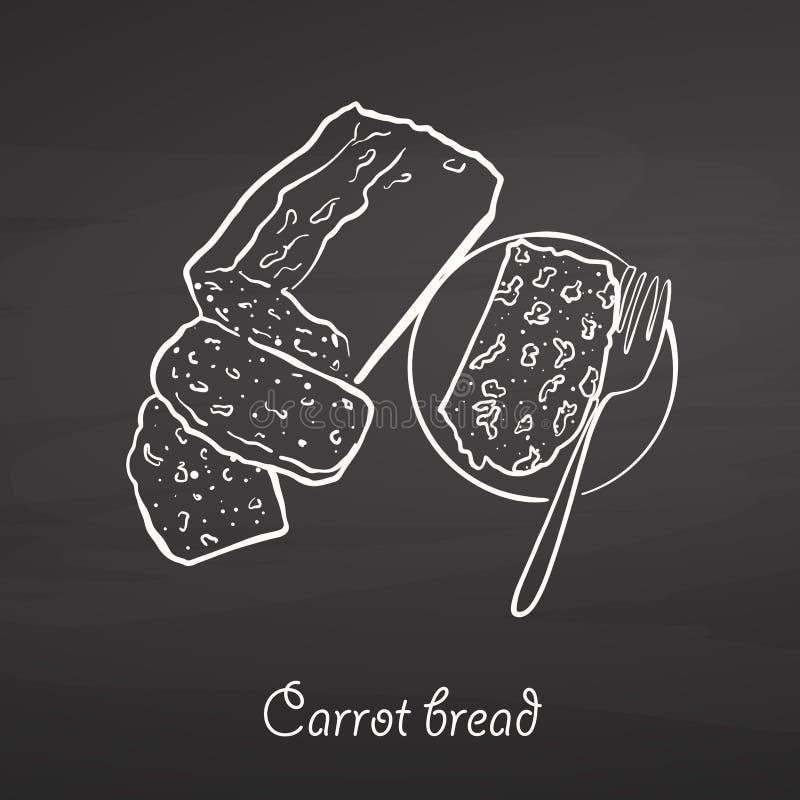 Bosquejo de la comida del pan de la zanahoria en la pizarra stock de ilustración