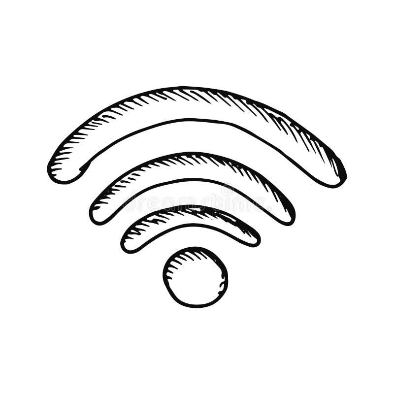 Bosquejo de la conexión de la onda aislado en el fondo blanco libre illustration
