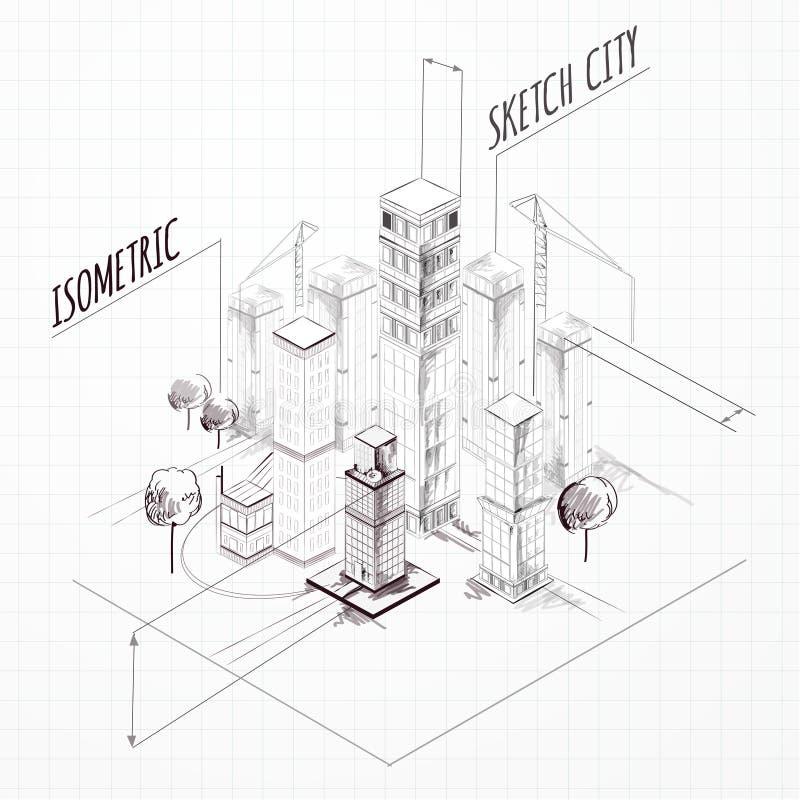 Bosquejo de la construcción de la ciudad isométrico libre illustration