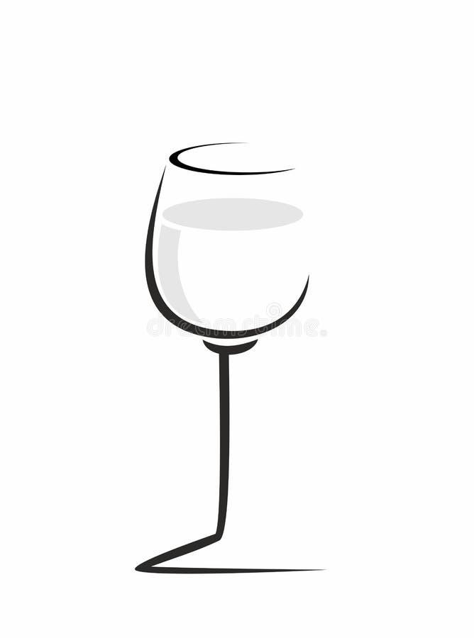 bosquejo de la copa de vino stock de ilustración