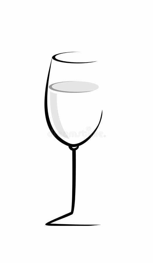 Bosquejo de la copa de vino aislada stock de ilustración