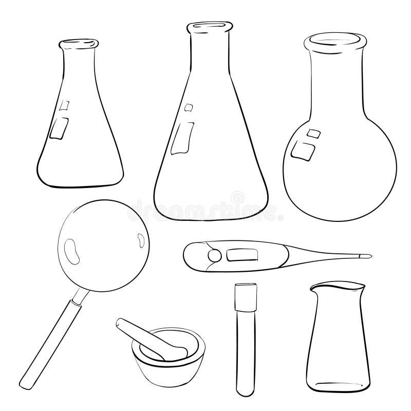 bosquejo de la cristalería de laboratorio stock de ilustración