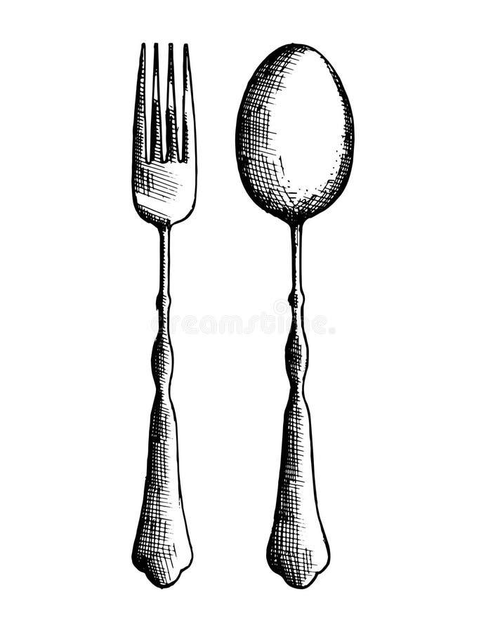 Bosquejo de la cuchara y de la bifurcación de los cubiertos dibujo en el aislamiento ilustración del vector