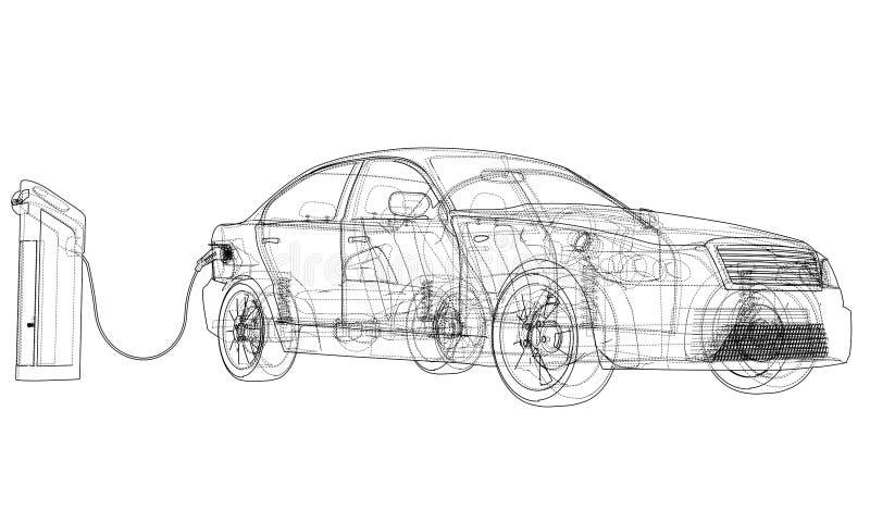 Bosquejo de la estación de carga del vehículo eléctrico stock de ilustración