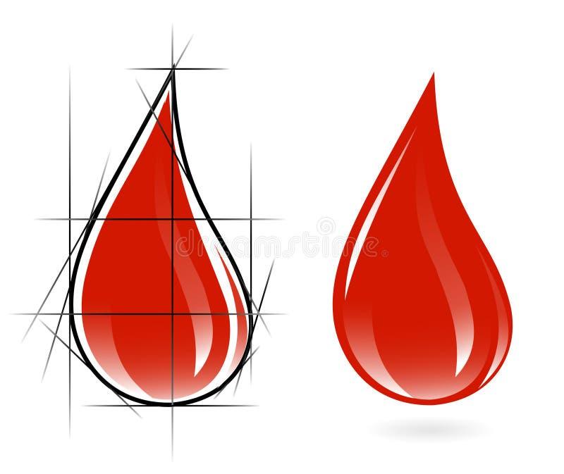 Bosquejo de la gota de sangre libre illustration