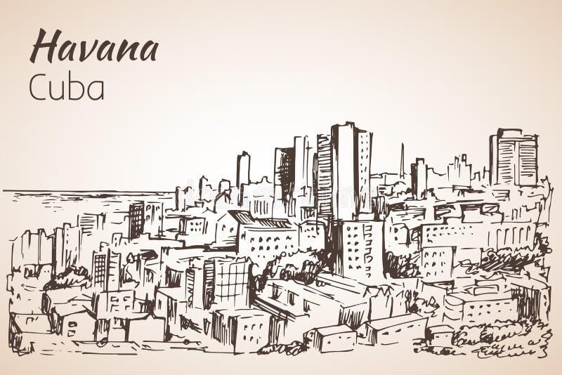 Bosquejo de La Habana cuba ilustración del vector