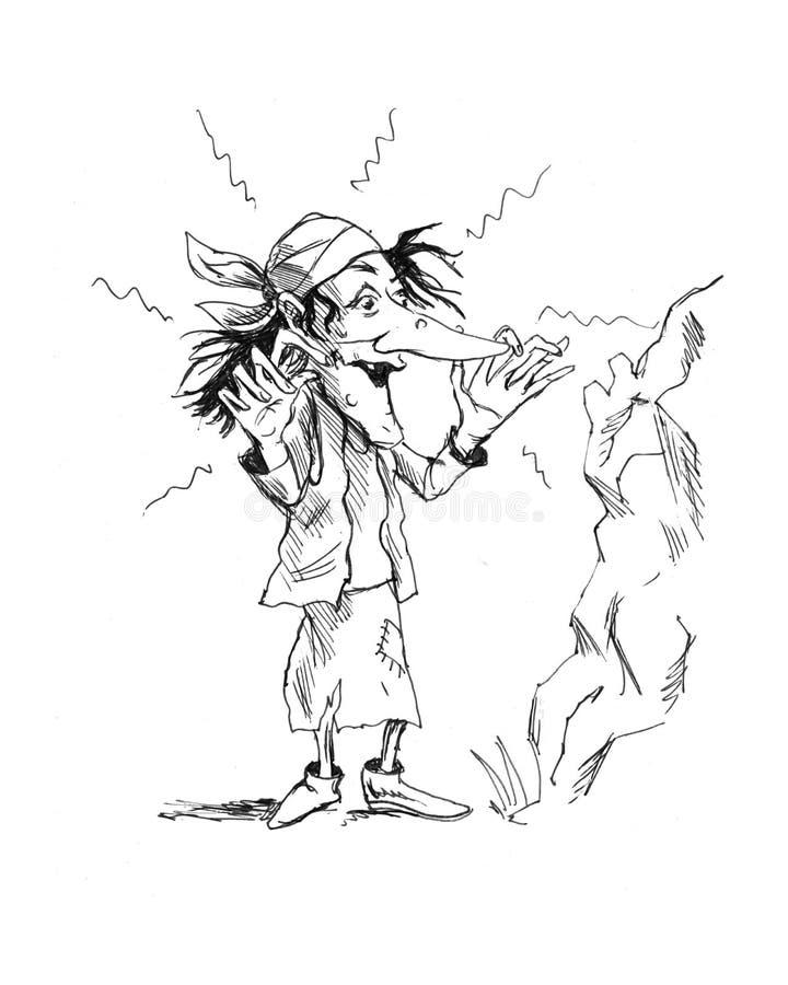 Bosquejo de la historieta Baba Yaga imagen de archivo