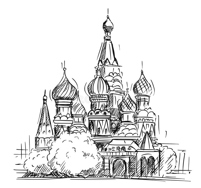 Bosquejo de la historieta de la catedral del ` s de la albahaca del santo, Moscú, Rusia ilustración del vector