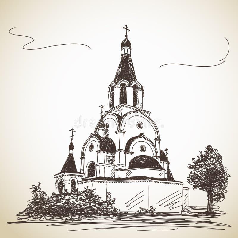 Bosquejo de la iglesia ortodoxa rusa stock de ilustración