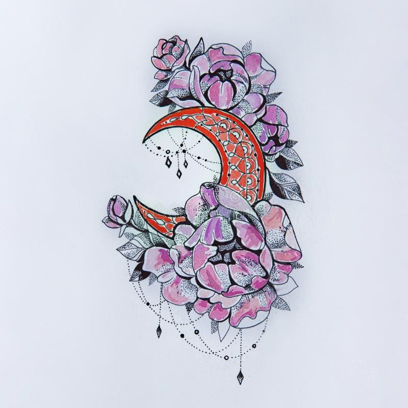 Bosquejo de la luna con las flores en un fondo blanco imagenes de archivo