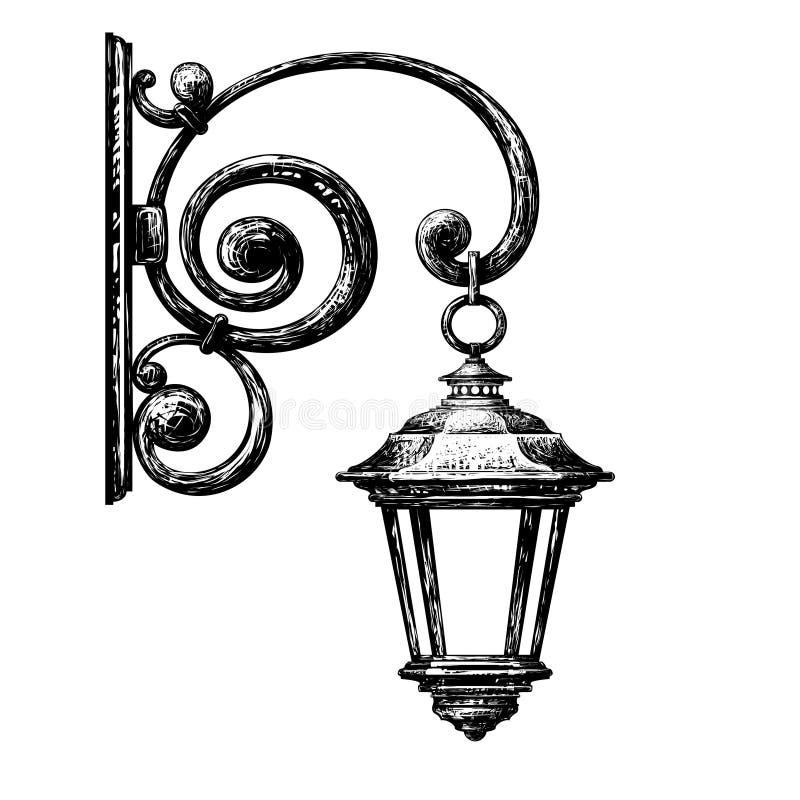 Bosquejo de la luz de calle, posts de la calle stock de ilustración