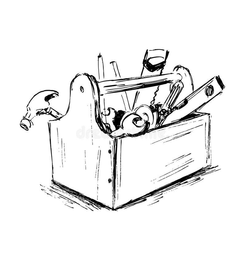 Bosquejo de la mano la caja con las herramientas fotografía de archivo