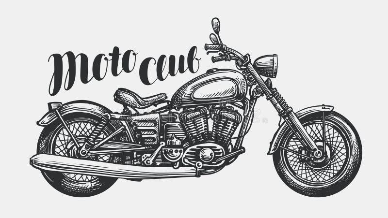 Bosquejo de la motocicleta Moto a mano del vintage, ejemplo del vector stock de ilustración