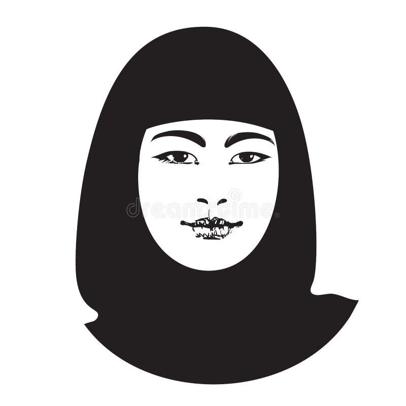 Bosquejo de la muchacha asiática hermosa en ropa tradicional Retrato de la mujer musulmán joven atractiva Vector ilustración del vector