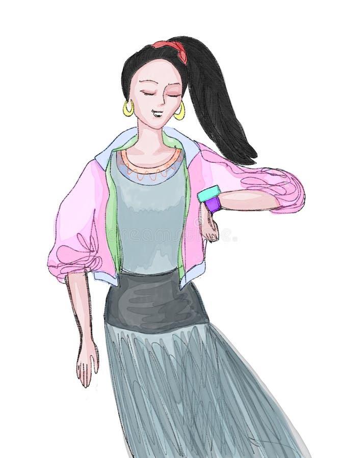 Bosquejo de la muchacha del adolescente en paño elegante colorido del deporte stock de ilustración