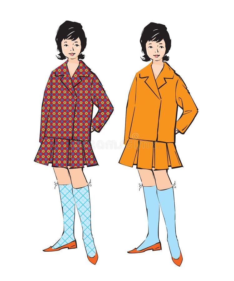 Bosquejo de la muchacha en estilo retro libre illustration