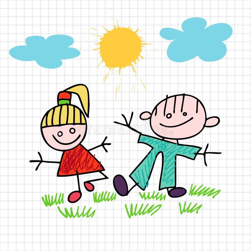 Bosquejo de la muchacha y del muchacho stock de ilustración