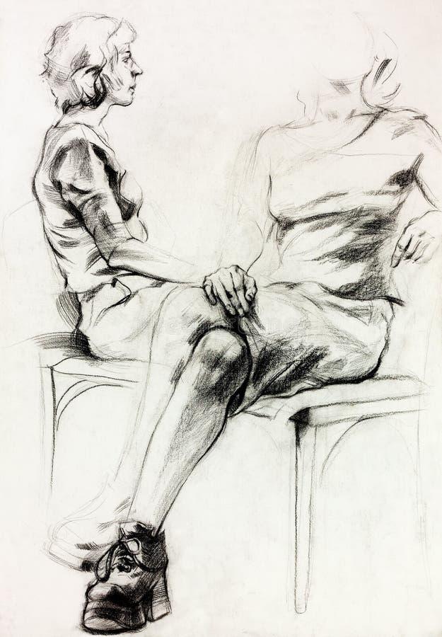 Bosquejo de la mujer libre illustration