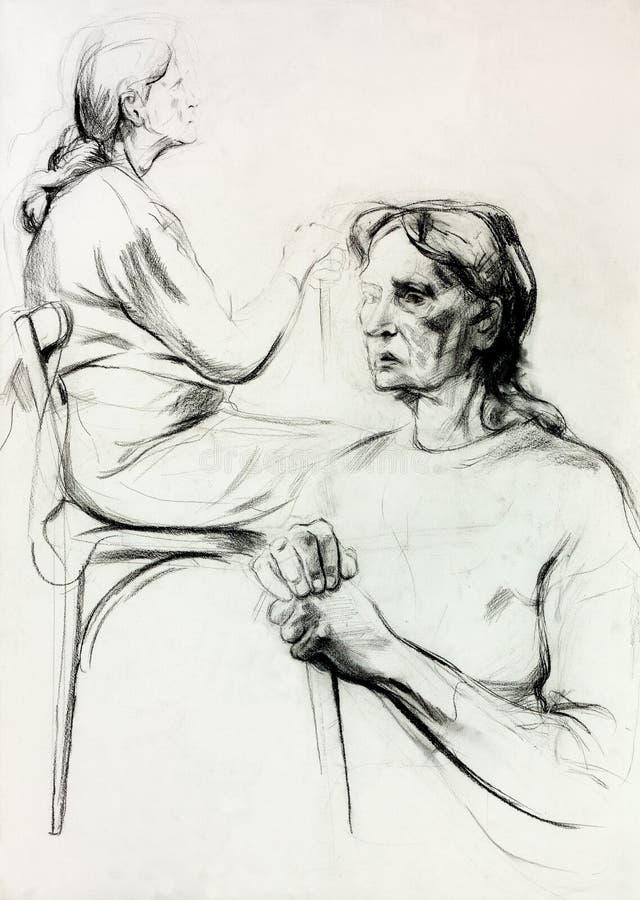 Bosquejo de la mujer stock de ilustración