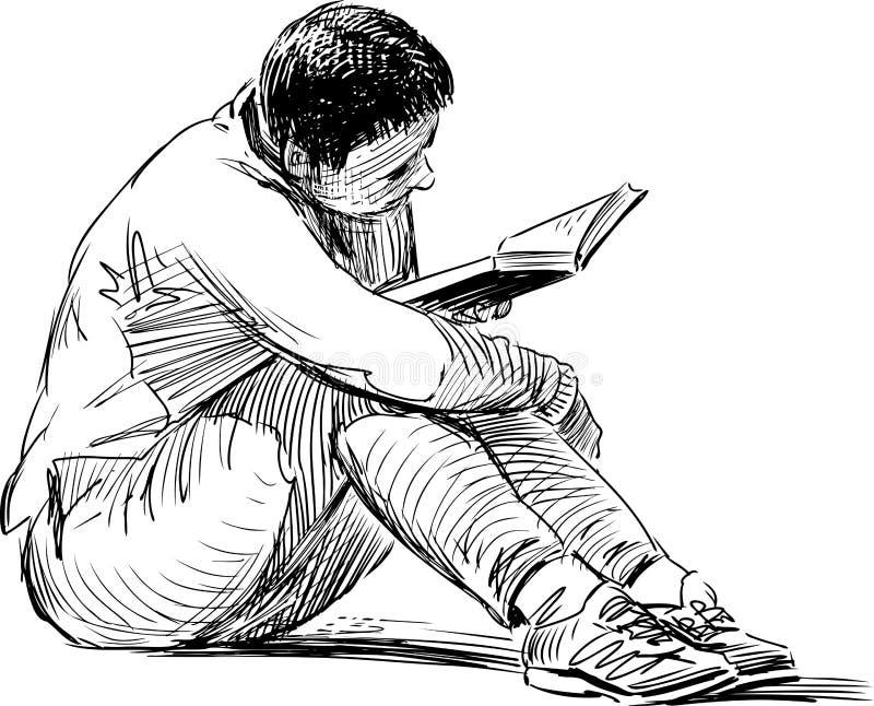 Bosquejo de la mujer de la lectura libre illustration