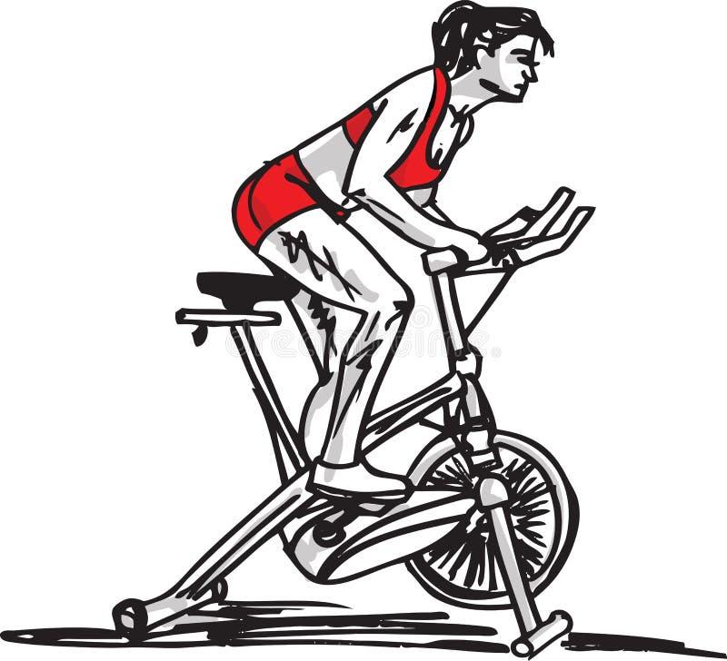 Bosquejo de la mujer en la bicicleta inmóvil del entrenamiento libre illustration