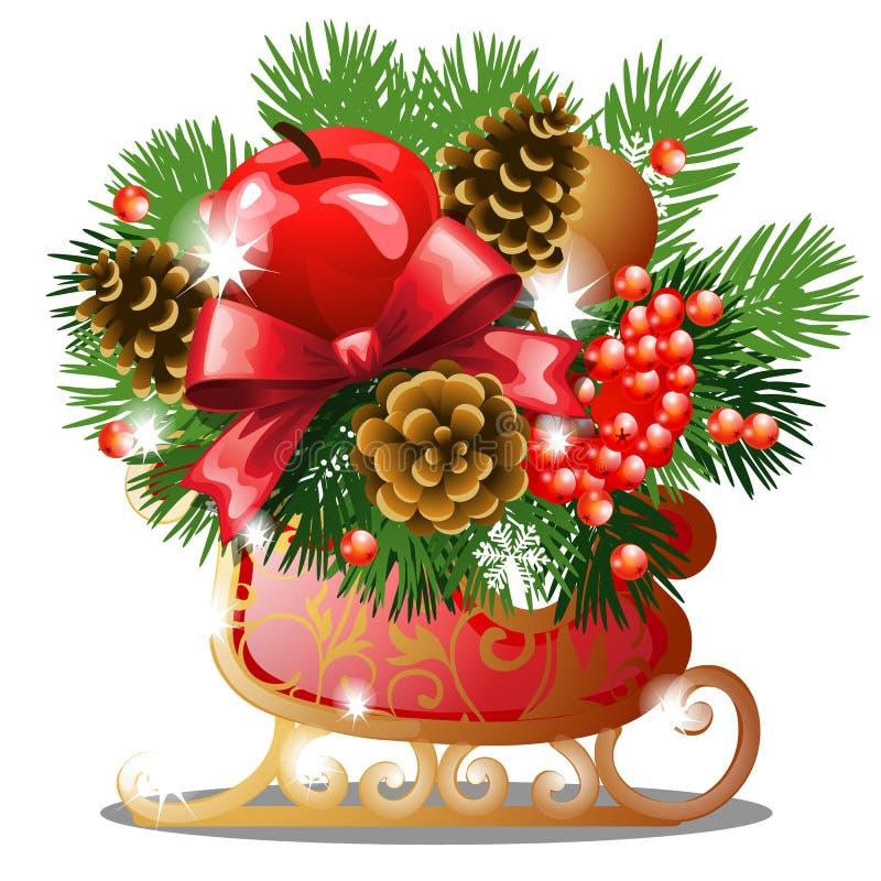 Bosquejo de la Navidad con la decoración de los patines de hielo de oro con las ramitas del abeto, el arco rojo de la cinta, las  stock de ilustración