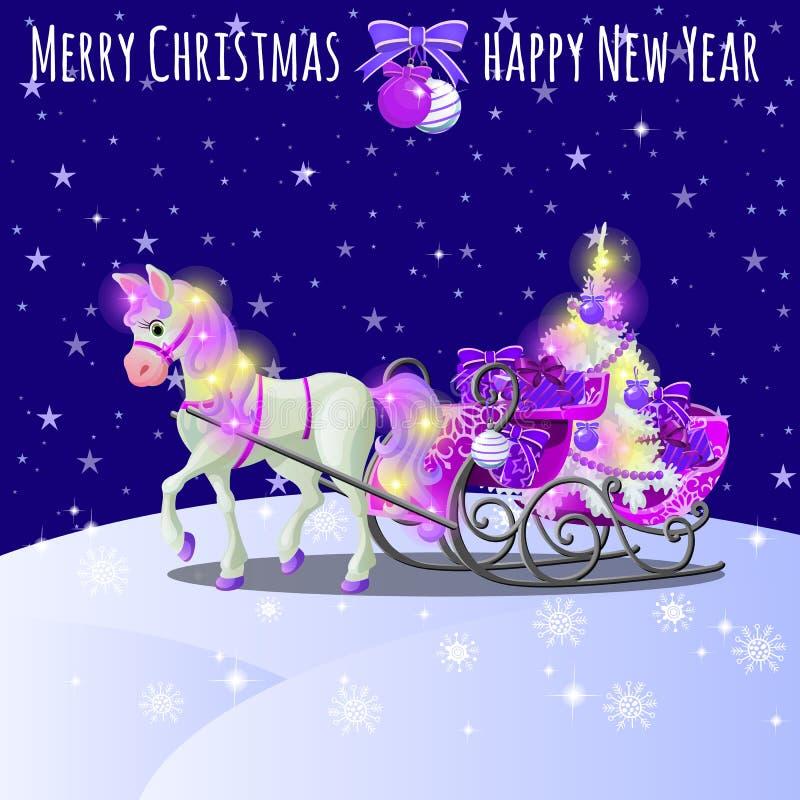 Bosquejo de la Navidad con el caballo animado con una melena rosada y los enganches, el trineo llenado de las cajas de regalo y l stock de ilustración
