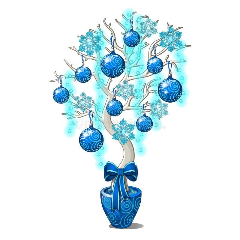 Bosquejo de la Navidad con el elemento decorativo del interior bajo la forma de árbol artificial adornado con la Navidad ilustración del vector