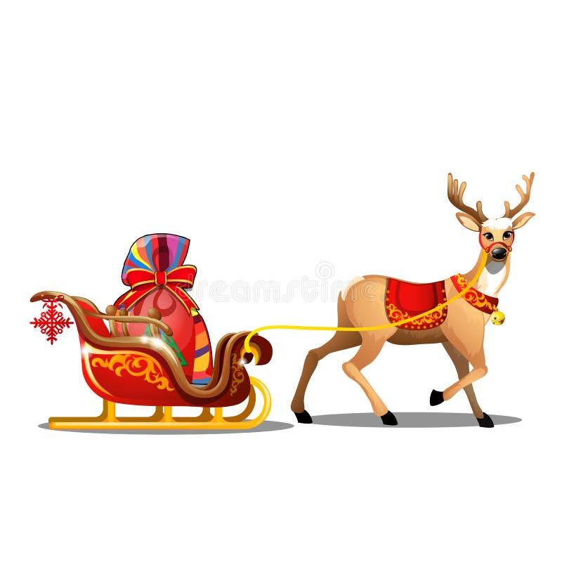 Bosquejo de la Navidad con los ciervos animados con la manta roja y el trineo con el bolso de Santa Claus con los regalos Muestra stock de ilustración
