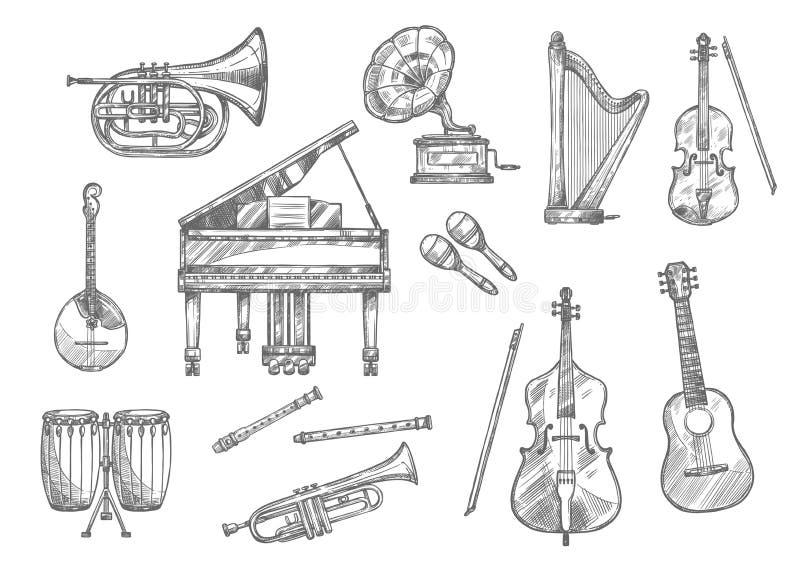 Bosquejo de la obra clásica, música del instrumento musical de jazz ilustración del vector