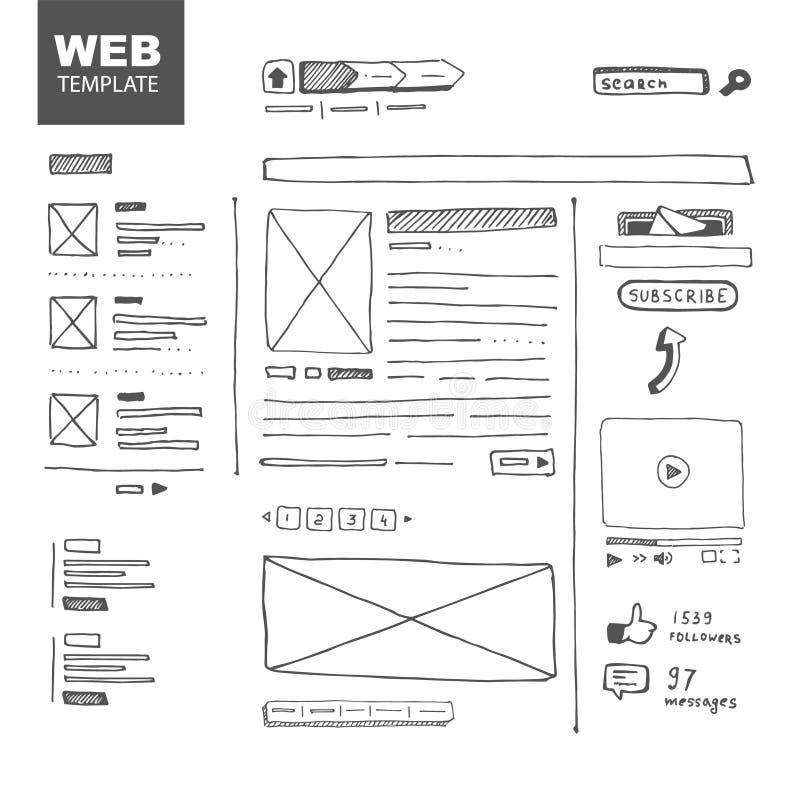 Bosquejo de la página web ilustración del vector