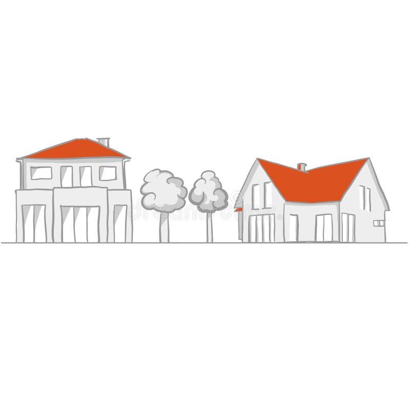 Bosquejo de la pequeña casa y del jardín libre illustration