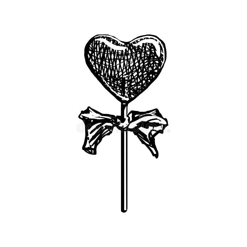Bosquejo de la piruleta Caramelo en forma de corazón en el palillo aislado en el fondo blanco Ejemplo del vector del grabado del  libre illustration