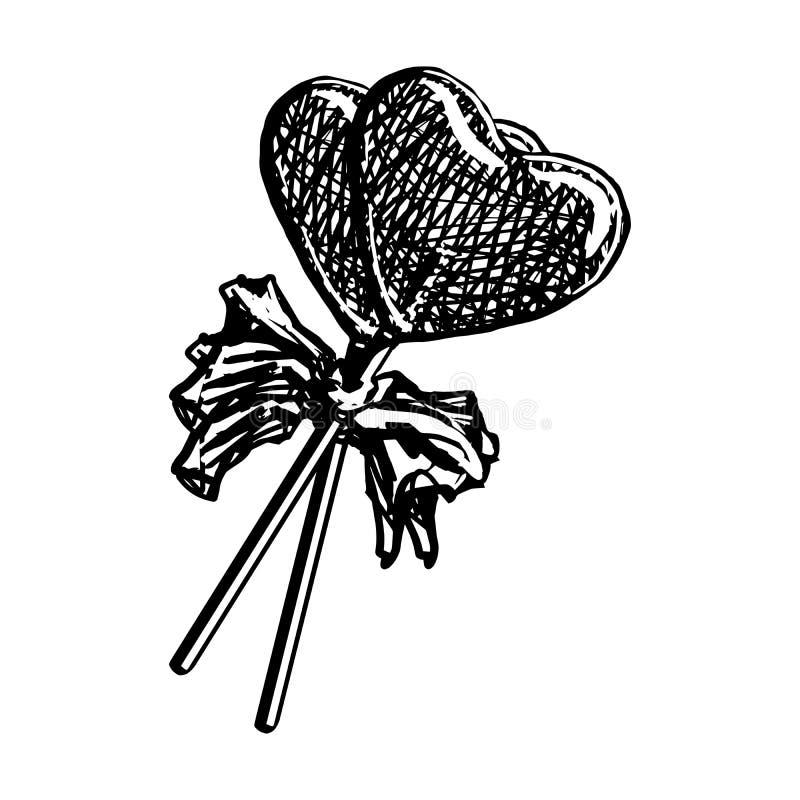 Bosquejo de la piruleta en la forma del corazón aislada en el fondo blanco Caramelo del grabado del garabato en el ejemplo del ve ilustración del vector