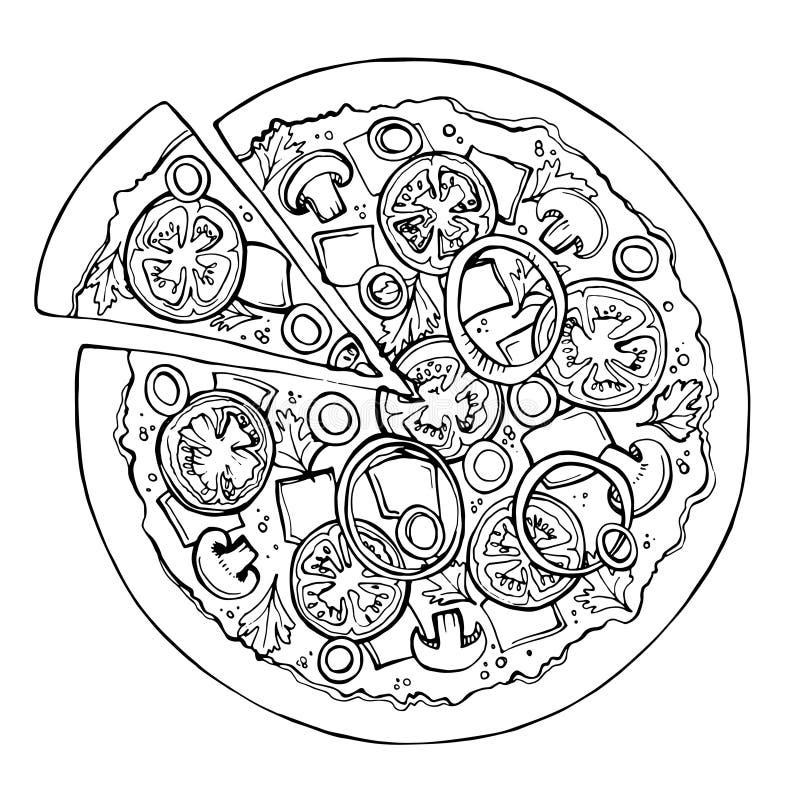 Bosquejo de la pizza Alimentos de preparación rápida Vector imagen de archivo