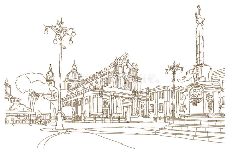 Bosquejo de la plaza principal de Catania imágenes de archivo libres de regalías