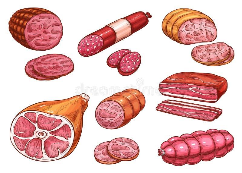 Bosquejo de la salchicha del producto de carne de la carne de vaca y de cerdo ilustración del vector