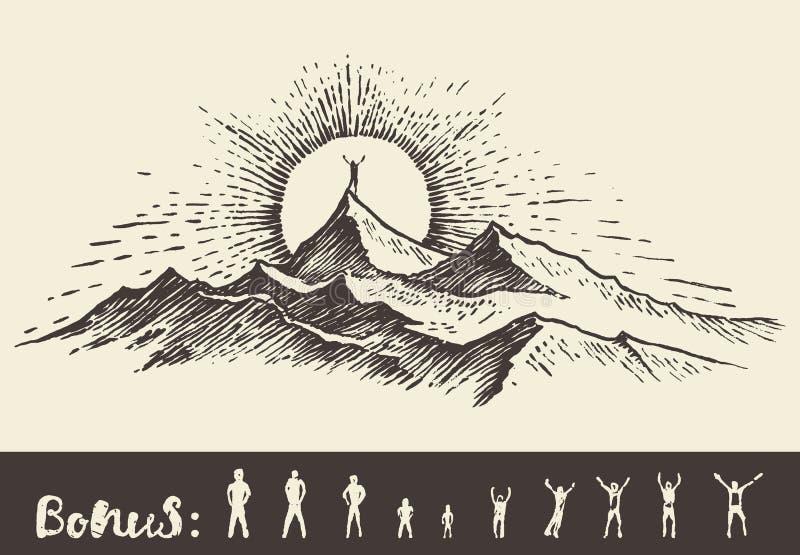 Bosquejo de la salida del sol de la colina del top del hombre de la silueta del vector del drenaje ilustración del vector
