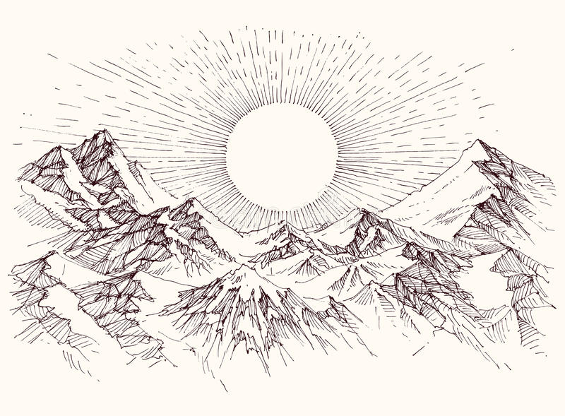 Bosquejo de la subida de Sun ilustración del vector