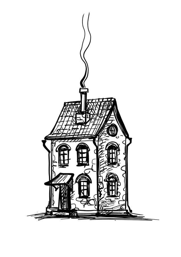 Bosquejo de la tinta de la casa de piedra vieja libre illustration