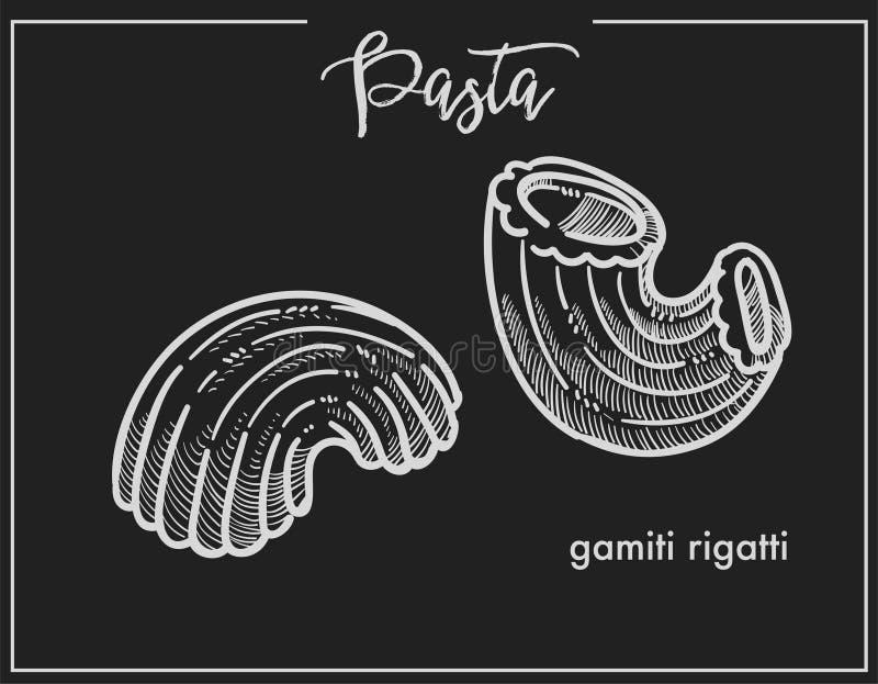 Bosquejo de la tiza de Gamiti Rigatti de las pastas para el menú de la cocina o el diseño de empaquetado italiano en fondo negro stock de ilustración