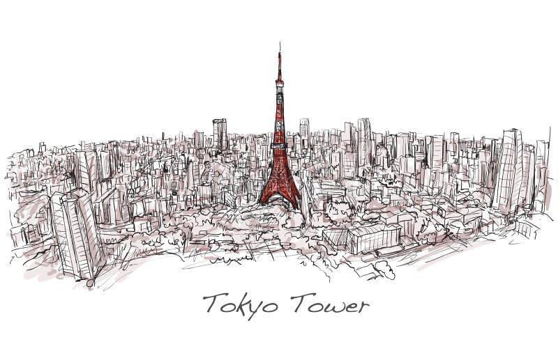 Bosquejo de la torre de Tokio del scape de la ciudad con horizonte del edificio, ilustración del vector