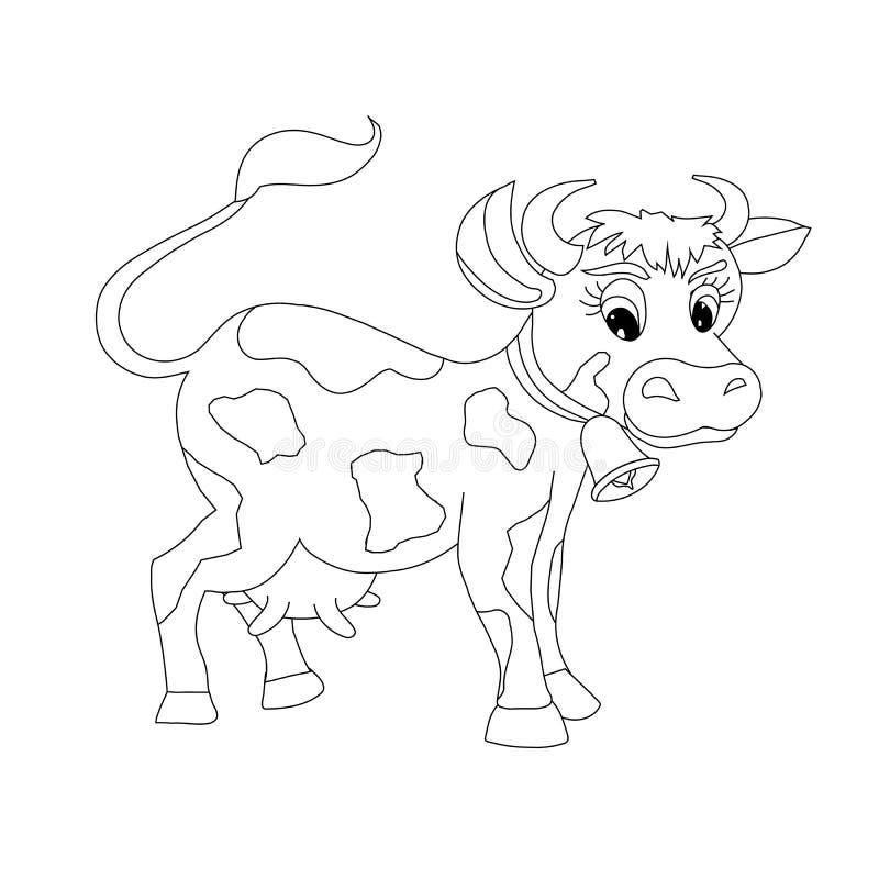 Bosquejo de la vaca Ani de la granja divertida de las historietas del elemento del diseño stock de ilustración