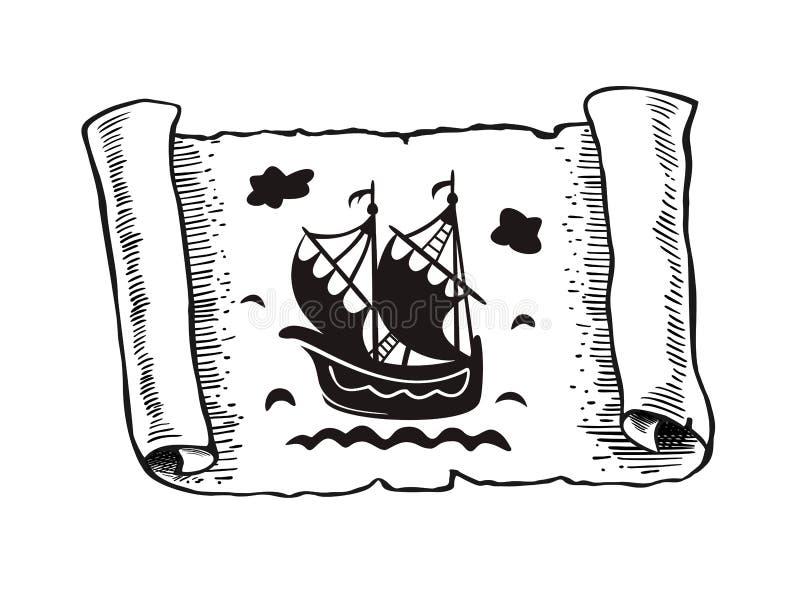Bosquejo de la voluta antigua con la nave, aislado en el fondo blanco, hoja del papel de pergamino viejo con el velero que flota  stock de ilustración