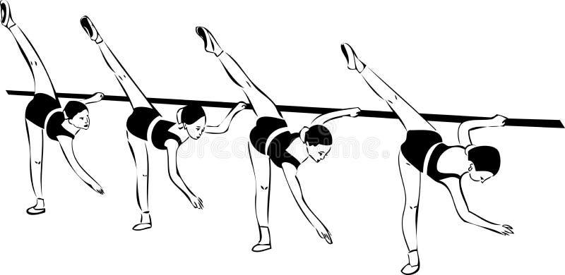 Bosquejo de las cuatro muchachas en clase del ballet ilustración del vector