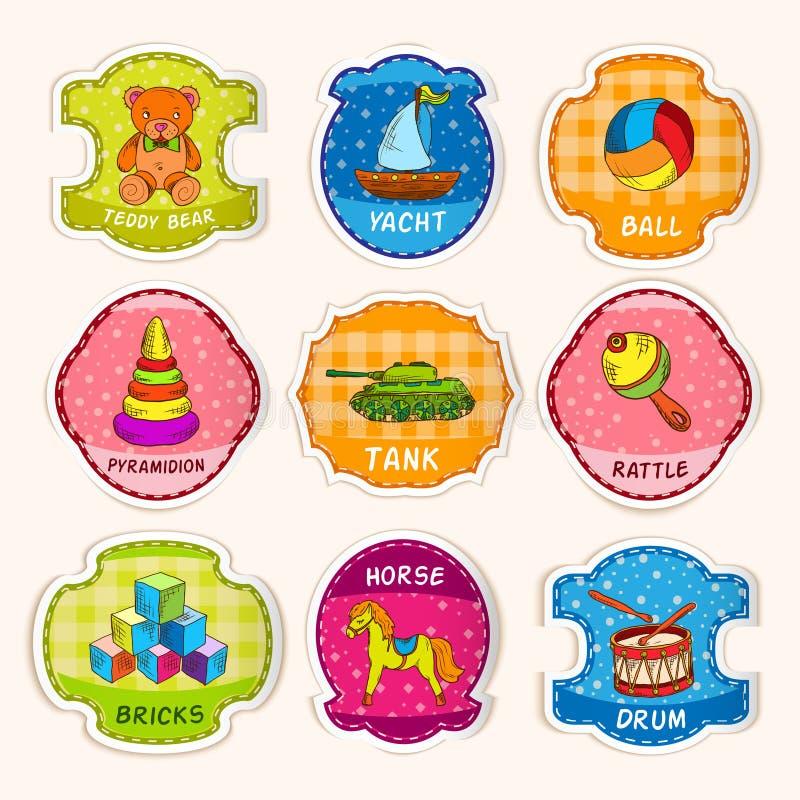 Bosquejo de las etiquetas de los juguetes libre illustration
